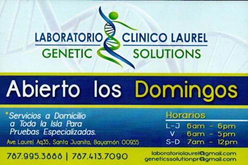 • Servicio en el Hogar (Lunes - Viernes) • Envío de Resultados Electrónicamente • Micro Nutrientes • Anti - Aging • Telómeros (edad celular) • Marcadores de Cancer (brac 1, 2 y otros) • Alergias e intolerancia de Alimentos • Genética y Moleculares • Certificado de Salud (pruebas) • Dopaje • Pruebas Certificado de Matrimonio • Autismo y Déficit de Atención • Desorden del Metabolismo • Paternidad