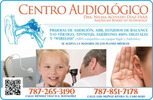 •Reparación de Audífonos • Pruebas de Audición • Estudios de balance y/o vértigo • Tinnitus •Contamos también con oficinas en:  Cabo Rojo Calle Luis Muñoz Rivera #53 (787) 851-7178  San Sebastián Calle Severo Arana #30 (787) 508-6444