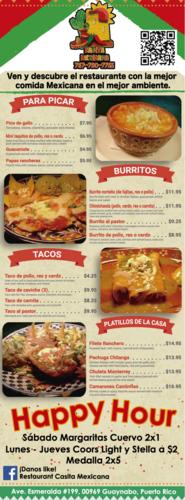 - Comida Mejicana - Picadera - Tacos - Fajitas - Burritos - Enchiladas  - Flautas - Chimichanga - Ensaladas - Postres - Valet Parking - Margaritas