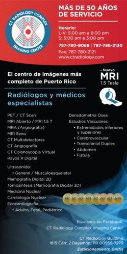 Pet CT Scan, MRI Abierto / MRI 1.5 T, MRA (Angiografía), MRI Seno, MRI Próstata, CT Multidetectores, CT Angiografía, CT Colonoscopía Virtual, Rayos X Digital. Ultrasonidos: General/Musculoesqueletal, Elastografía, Mamografía Digital 2D, Tomosíntesis (Mamografía 3D), Medicina Nuclear, Cardiología Nuclear. Ecocardiografía Adulto y Fetal. Densitometría Osea Digital, Sonografía Digital. Estudios Vasculares: Extremidades Inferiores y Superiores, Cerebrovascular, Transcranial Duplex, Abdomen, Fístula, Biopsia del Seno y Tiroídes.