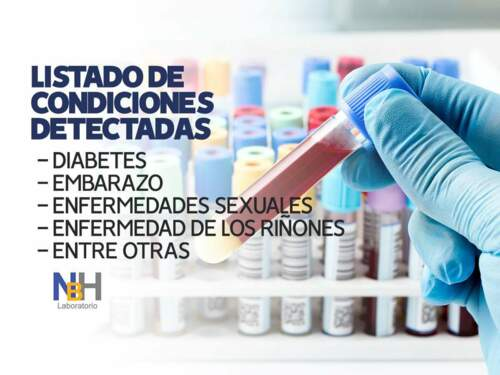 • Servicio al hogar (muestra de sangre) • Pruebas de glucosa • Análisis de semen • Prueba de embarazo • Prueba de dopaje • Prueba de hemoglobina • Pruebas bacteriológicas