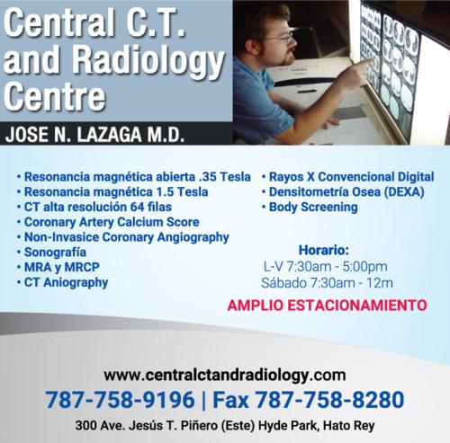 • Resonancia magnética abierta  • 0.35 Tesla y 1.5 Tesla convencional • Angiografía de todo el cuerpo por CT y MRI    incluyendo angiografía Cardíaca • Sonografías  • Densitometría ósea • Radiología convencional y digital, entre otros.