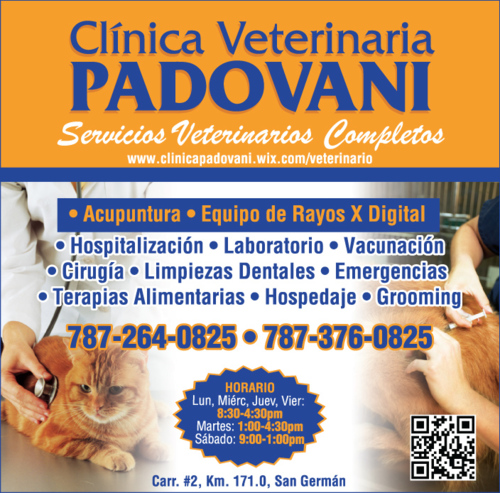 •Vacunación •Examen Médico •Grooming • Hospedaje •Acupuntura Animal •Dietas Nutricionales •Cirugías •Emergencias •Laboratorios •Rayos X •Limpieza dentales
