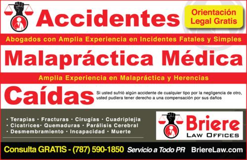 • Abogados de accidentes de auto • Abogado de accidentes de motoras y/o camiones • Caídas • Herencia • Declaratoria de herederos • Expropiaciones • Daños y Perjuicios con una práctica en Puerto Rico.