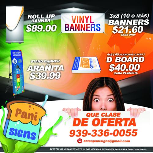"""Trabajamos toda clase de: - Banners (Cruzacalles) - Mesh - Letras en """"PVC"""" y """"Stainless Steel"""" - Rótulos en Acrílicos, Direccionales y Cajas Iluminadas - Impresos en Corrugado (D- Boards) - Banderines  - Rotulación de Vehículos - Microperforados - Hacemos montaje de eventos (Convenciones/Expo) - Camisetas"""